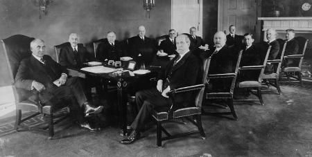 Warren G. Harding (far left) with his Cabinet, including Albert Fall (2nd from right) who perpetrated the Teapot Dome scandal, 1921. (Library of Congress Prints and Photographs Division)