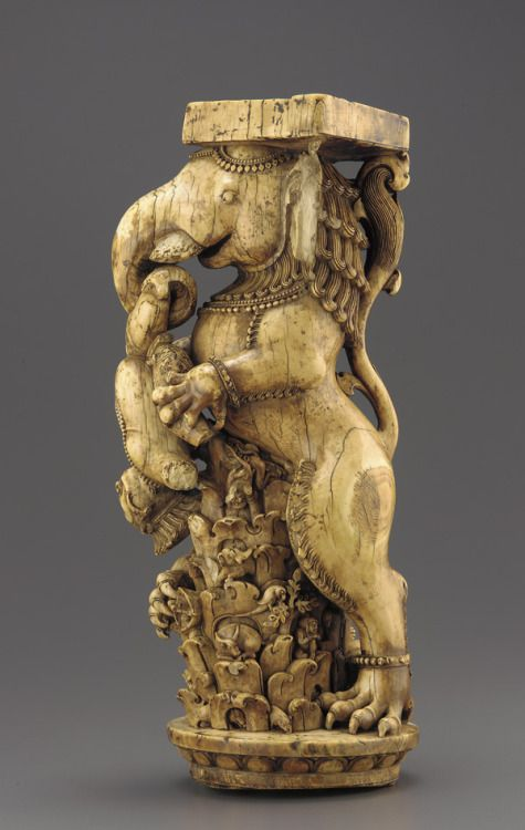 Ivory Throne Leg 13th century, Eastern Ganga dynasty Orissa, India Ivory, H: 34.9 W: 15.7 D: 13.2 cm   Since at least the second century, Indian sculptors created ivory thrones to proclaim royal command. On this splendidly carved throne leg, a...