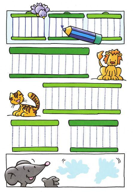 Thema dierentuin : schrijfpatroon tralies voor kleuters