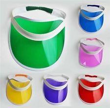 5 Nuevos 80s Neon Sun Visor Pico Cap Hat Rave Fiesta De Disfraces Poker Diadema