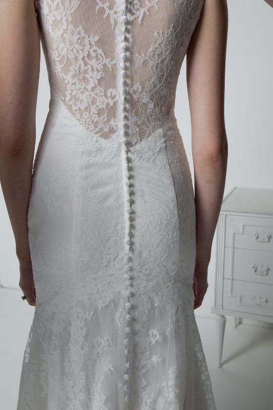 Carrafina bridal wedding dress detailed back buttons all for All lace fit and flare wedding dress