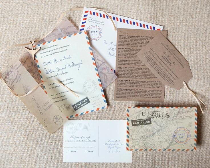 57 best invitations images on pinterest cards invitation ideas design fee vintage air mail wedding invitation new jersey 4500 via stopboris Choice Image