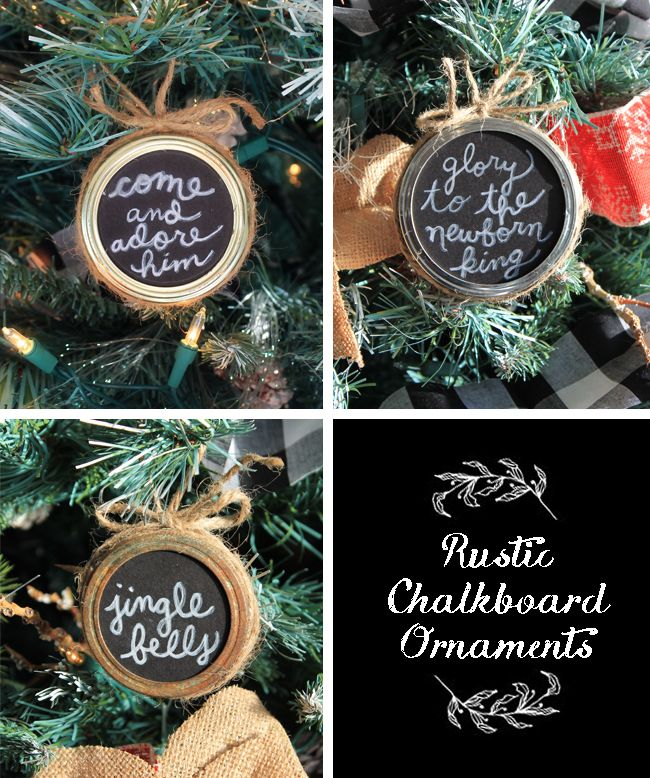 Mason Jar Ring Chalkboard Ornaments. Perfect for a rustic tree! These ones have favorite Christmas carol lyrics written on them.