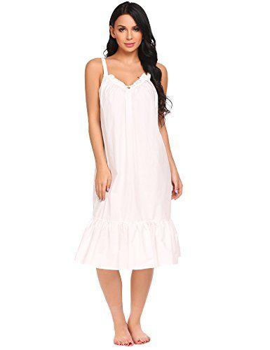 5812e255b824 VlSl Womens Sleeveless Long Nightgown Summer Slip Night Dress Cotton  Sleepshirt Chemise