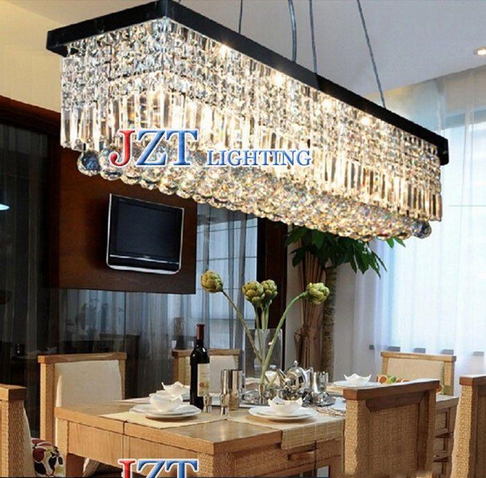 Siljoy Rectangle Dining Room Fixtures Crystal Ceiling Light Fixture Modern Chandelier Lighting Black Painted X