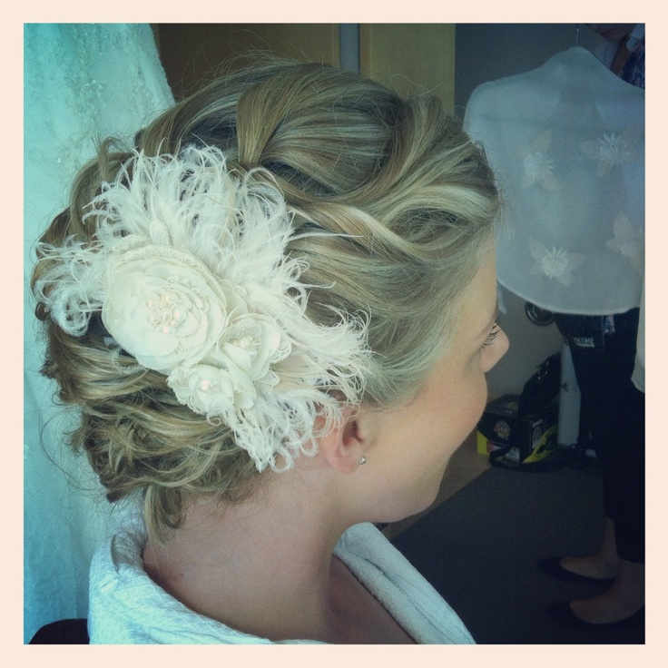 Gorgeous Bride on her Big Day! Hand made hair piece made from pieces of her mothers wedding dress - Hair done by Robin at Parlor Hair Boutique