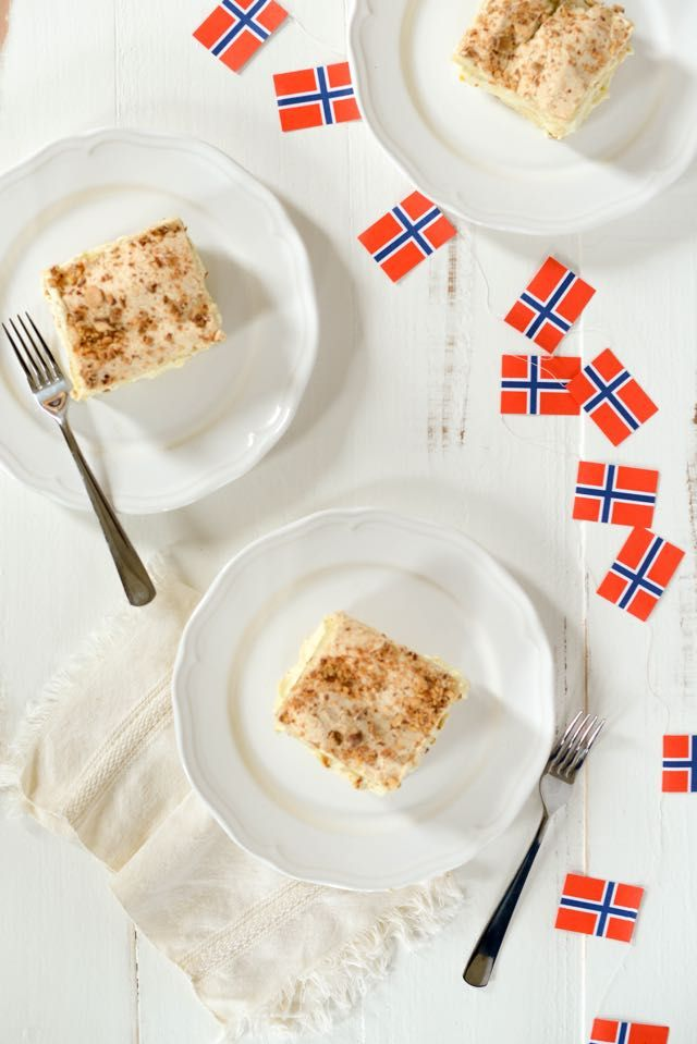 Kvæfjordkake, also known as verdens best kake or world's best cake, is Norway's national cake. It'd be great for Syttende Mai (Norwegian Constitution Day, May 17). Get the recipe and my article in the Norwegian American Weekly.