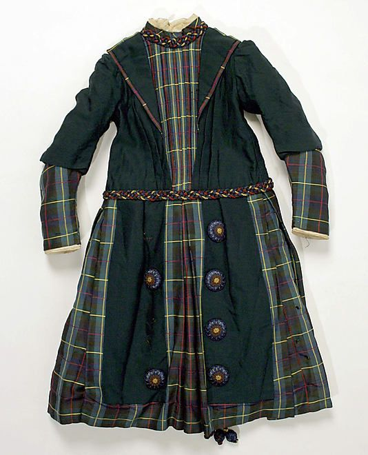 Dress  Date:     1880s Culture:     American (probably) Medium:     silk, wool Dimensions:     [no dimensions available] Credit Line:     Gift of Mrs. Ewen C. MacVeagh, 1962 Accession Number:     C.I.62.23.4