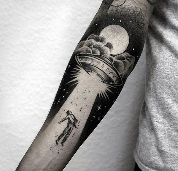 Creative Alien Abuduction Mens Forearm Sleeve Tattoo With Negative Space Design