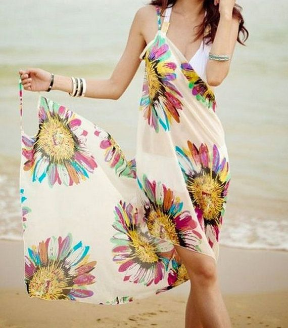 Multiway Beach Coverup Pareo Sarong in vibrant floral by wuju, $24.99