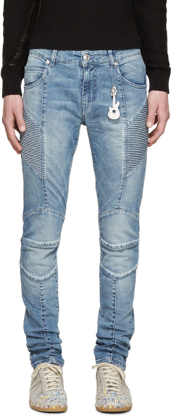 Pierre Balmain Blue Chain Biker Jeans