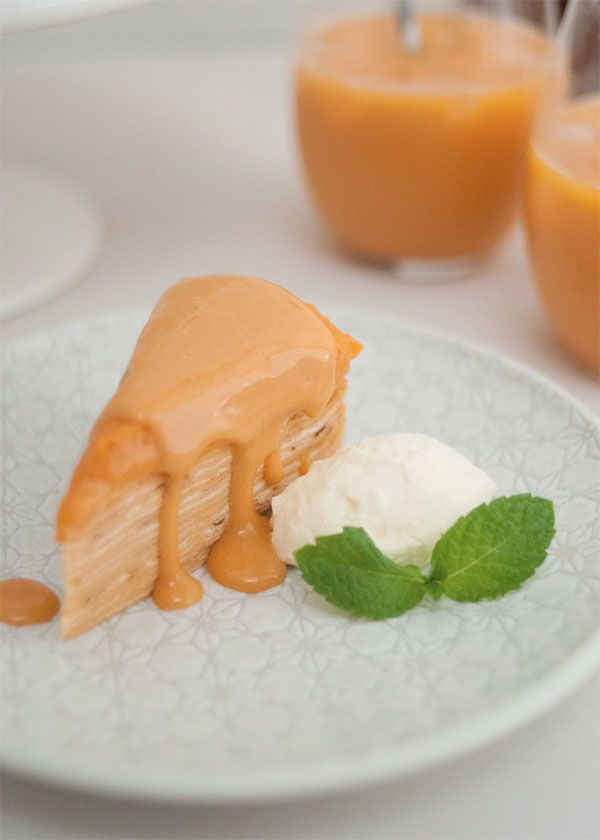 Thai Milk Tea Crepe Layer Cake Slice