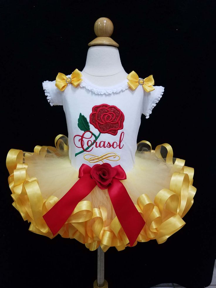 Belle tutu outfit/ribbon trimmed tutu/Beauty and The Beast