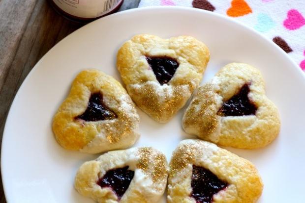 Heart-shaped cherry and white chocolate hamantaschen