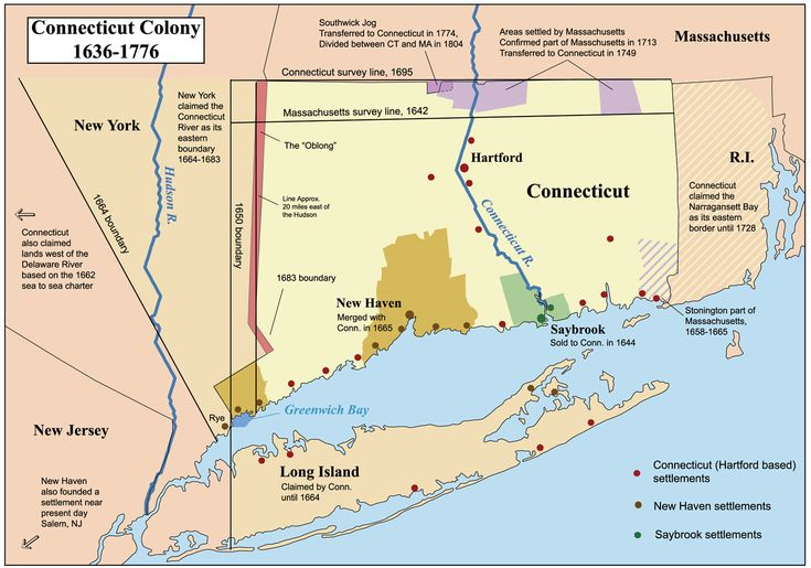 A map of the Connecticut, New Haven, and Saybrook colonies 1636-1776