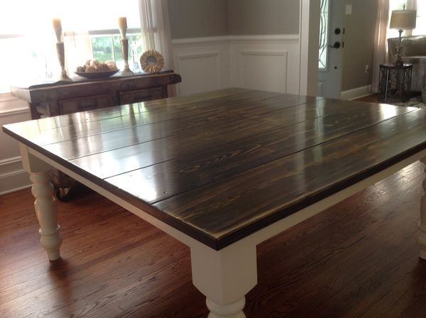 """James+James: 66"""" x 66"""" Square Baluster Table with a Vintage Industrial Grey stained traditional tabletop and Ivory painted base."""