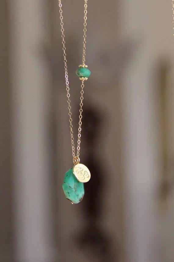 Chrysoprase Pendant Necklace, Yoga Lotus Flower, Gemstone Long Layer Necklace, Chrysoprase, Long Gold Necklace, Trendy, Chic