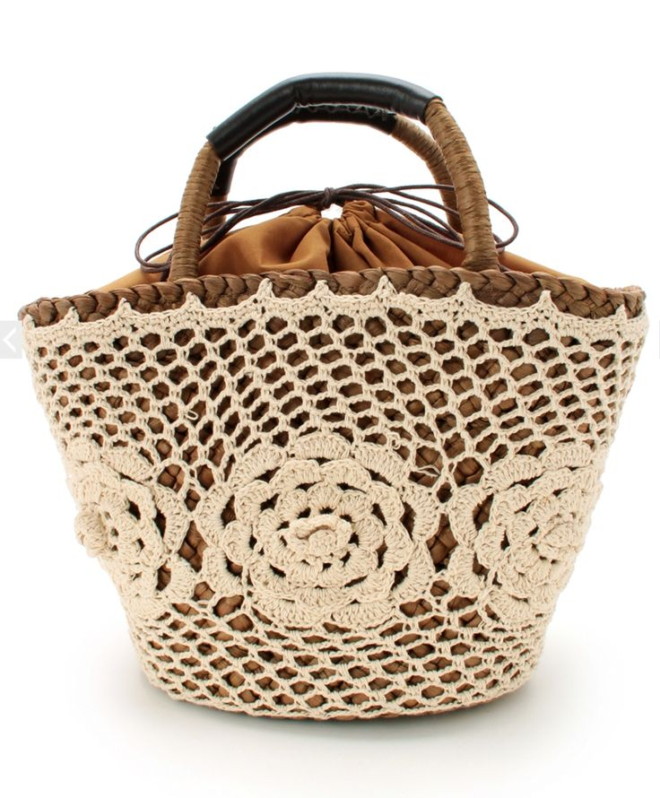 Crochet Straw Basket Bag