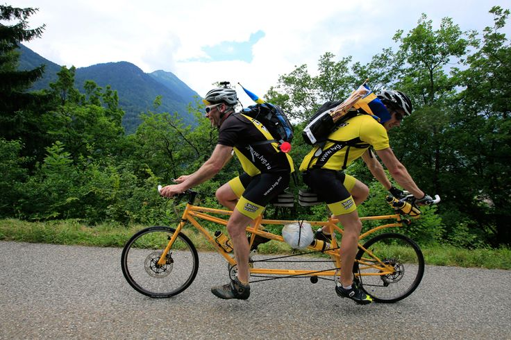 Sweden's Ake Johansson, left, and a friend climb L'Epine pass on a self-made tandem bicycle during the nineteenth stage of the Tour de France cycling race over 204.5 kilometers (127.8 miles) with start in in Bourg-d'Oisans and finish in Le Grand-Bornand, France, on July 19. (Peter Dejong/Associated Press - See more at: http://www.boston.com/bigpicture/2013/07/tour_de_france_100th_edition_p_1.html#sthash.Lx9uVNEJ.dpuf