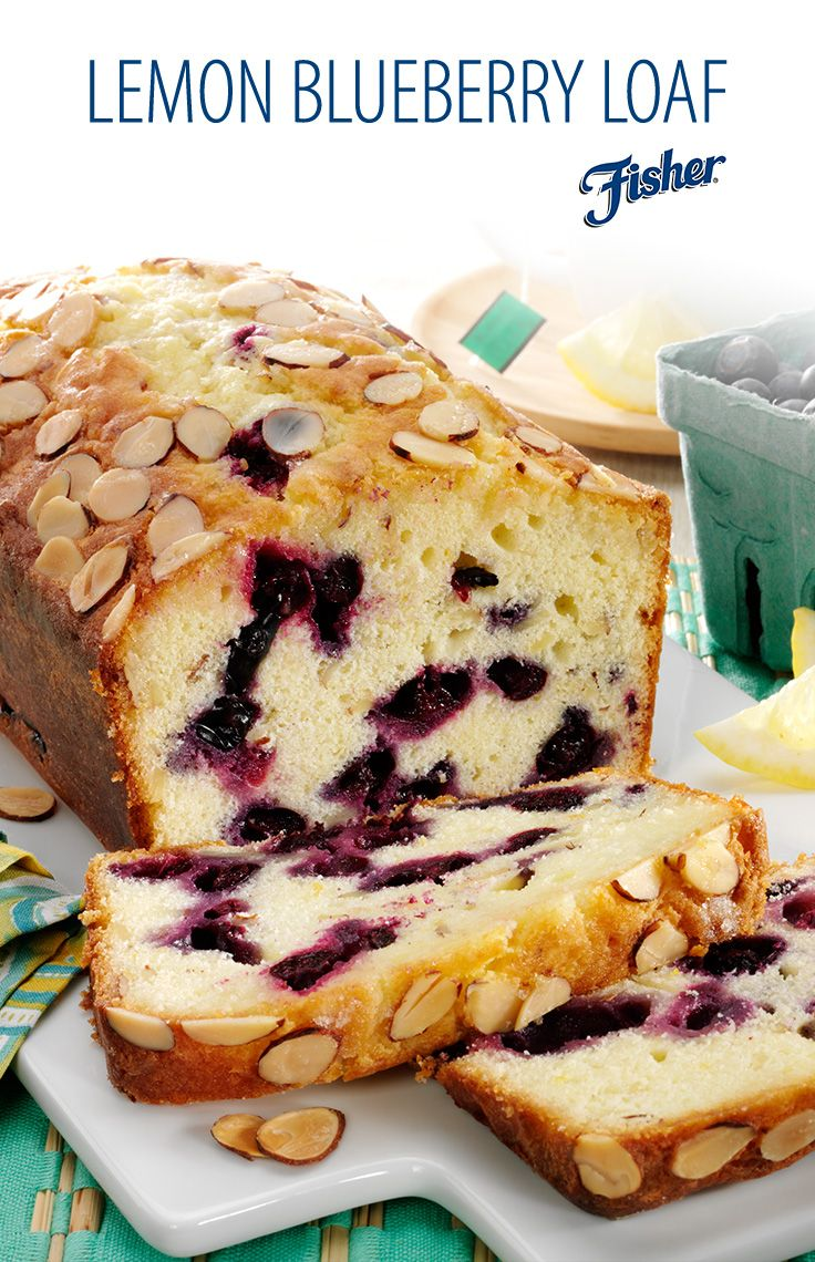 Looking for something sweet and simple to add to your Easter table? This lemon blueberry loaf, topped with crisp sliced almonds, is a perfect way to celebrate the season! #Easter #ThinkFISHER