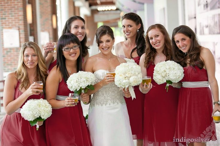 Pantone Marsala Wedding Inspiration.  Cranberry burgundy maroon bridesmaids dresses.  Wilmington Convention Center weddings.  Flowers by Fiore.  Photo by indigosilver studio - http://www.indigosilverstudio.com
