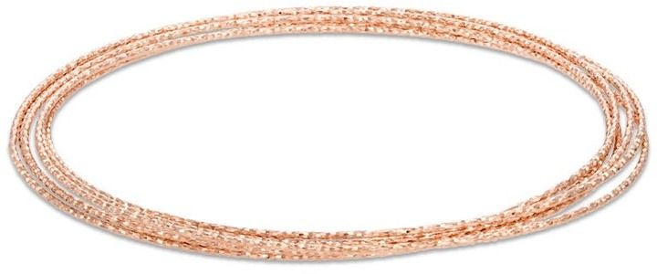 Zales Diamond-Cut Six Piece Stacked Bangle Set in Sterling Silver and 14K Rose Gold Plate - 7.5""