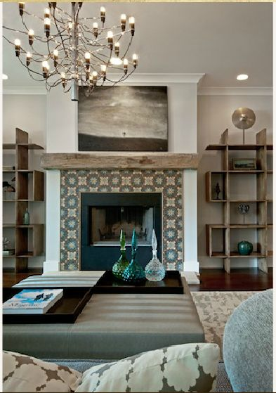 Tile around the fireplace and chandelier - the reclaimed wood, blues, greens - love just about everything in this room                                                                                                                                                                                  More
