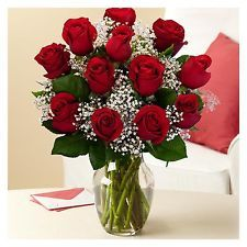 One Dozen Red Roses with Glass Ginger Vase - Fresh Flower Delivery