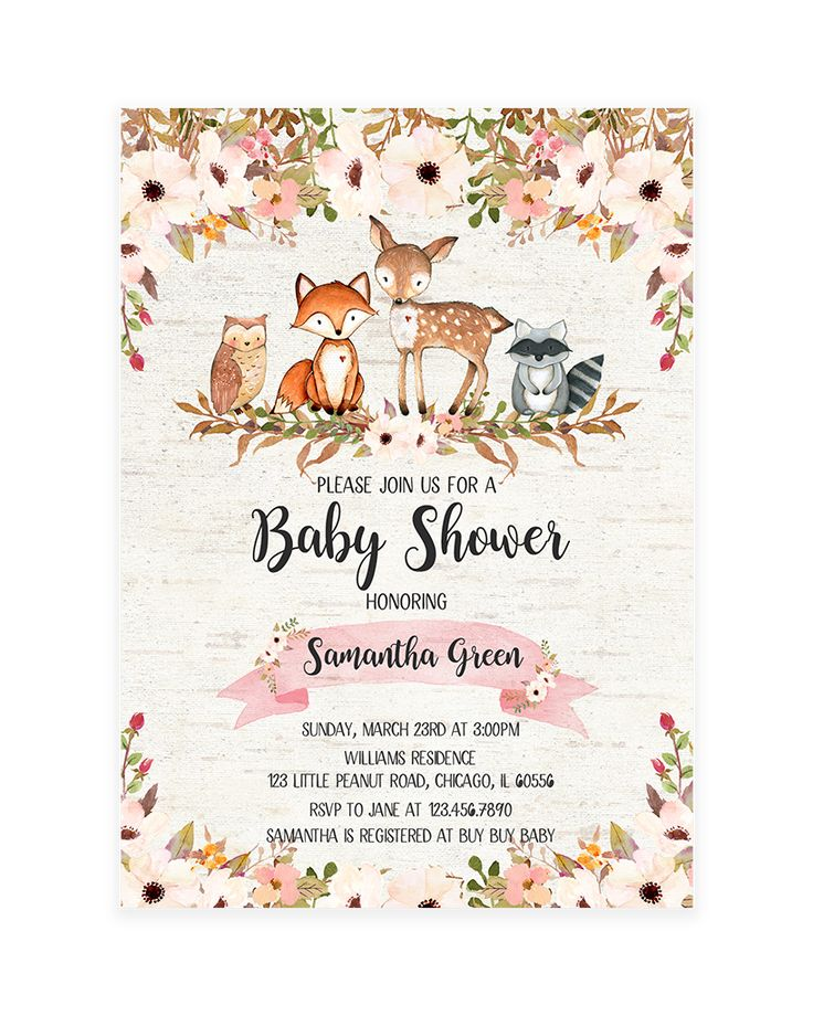 Floral Woodland Baby Shower Invitation Printable In 2019 -3761