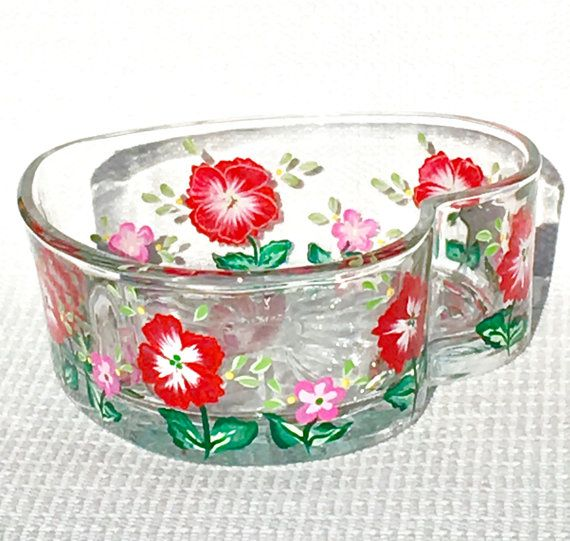 Painted Heart Shaped Bowl With Red and White  by ipaintitpretty