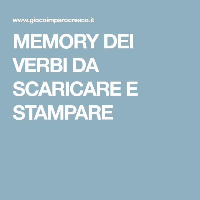 MEMORY DEI VERBI DA SCARICARE E STAMPARE