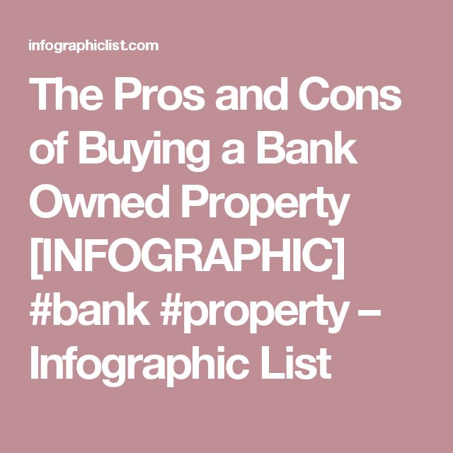 The Pros and Cons of Buying a Bank Owned Property [INFOGRAPHIC] #bank #property – Infographic List
