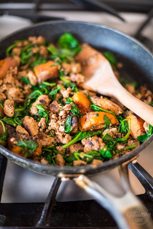 Ground Beef Spinach Bowl | thehealthyfoodie.com