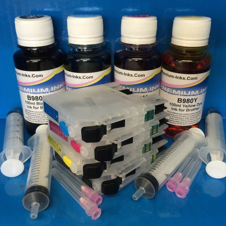 4 REFILLABLE PRINTER CARTRIDGES   400ML INK BROTHER LC123 LC125 LC127 Non OEM