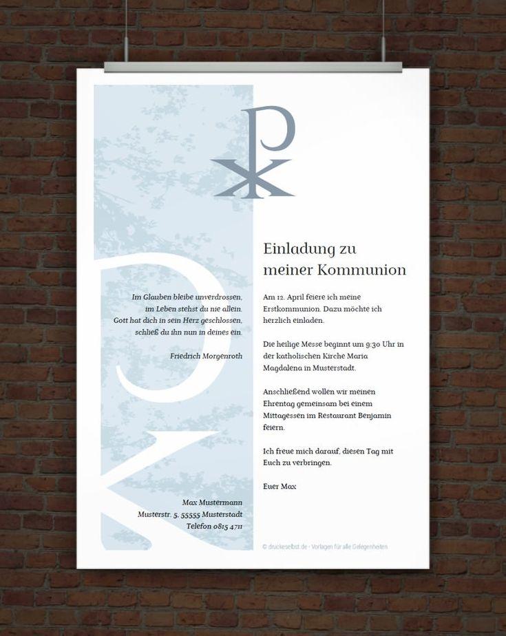 Gestalte Mit Dieser Vorlagen Eine Kostenlose Einladung Zur Kommunion Oder  Firmung. Einfach Vorlage Online Gestalten, PDF Druckvorlage Herunterladen  Und ...