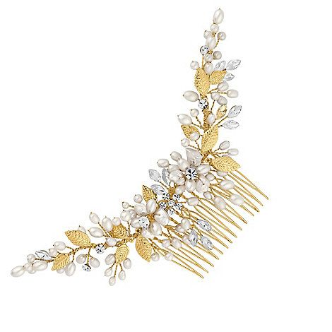 Butterfly by Matthew Williamson Designer curved crystal and pearl hair comb | Debenhams