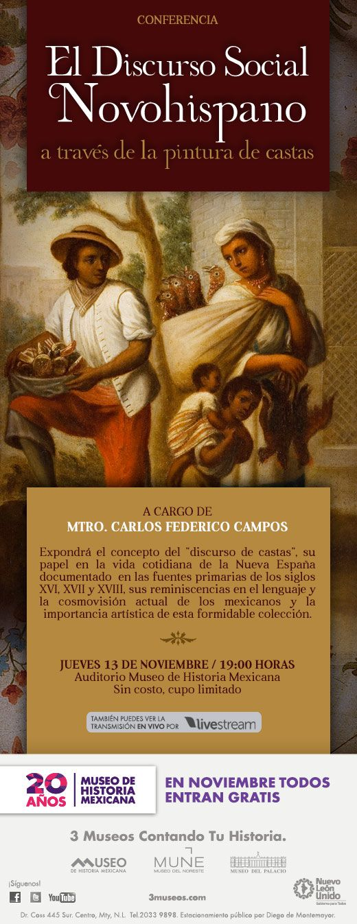 Lecture about caste and social discourse at the History of Mexico Museum in Mexico.