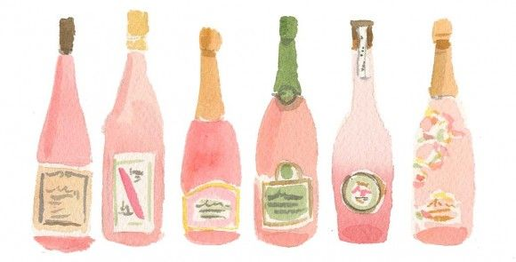 pink bubblyWatercolors, Illustration, Caitlin Mcgauley, Bubbles, Southern Charm, Pink, Wine Bottle, Bar Carts, Prints