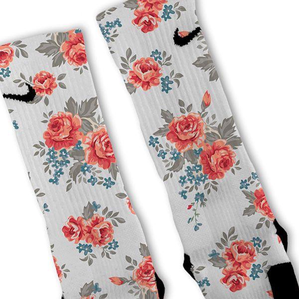 Floral White Custom Nike Elite Socks