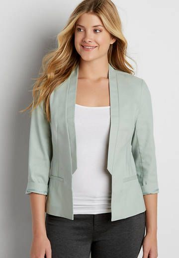 linen blazer with ruffled trim | maurices