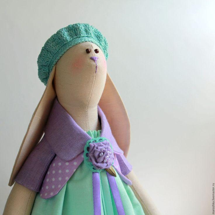 Купить Зайка Мятная прохлада, интерьерная игрушка в стиле Тильда - горошек, прованс, свежесть, лето