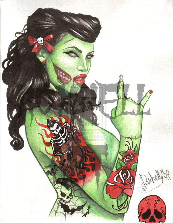 Zombie Pin Up Girl Tattoo   ... tattoo design 2010 2014 roxhell zombie pin up tattoo sketch watercolor