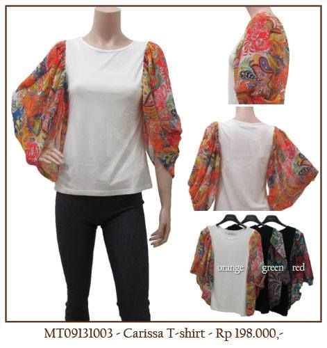 MINEOLA Carissa T-Shirt with Orange Batik Sleeve. Also available in black red and Black green sleeve color. Only Rp.198.000,- Bust: 84cm - Length: 58cm - Sleeve: 38cm. Fabrics: chiffon + cotton. Product code: MT09131003.   #MINEOLA #myMINEOLA #iWearMINEOLA #Fashion #OnlineShop #Indonesia #Jakarta #Brand #Import #Dress #Blouse #Top #Pants #Skirt #TokoBajuOnline #BajuImport #IndonesiaOnlineShop #OnlineShopIndonesia #FashionOnlineShop