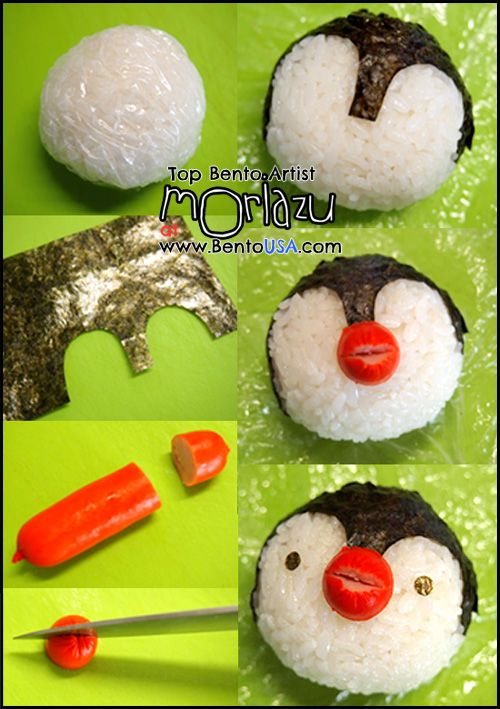 how to make a penguin rice ball