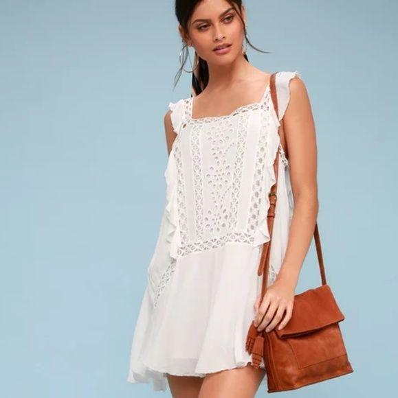Free People Priscilla White Crochet Mini Dress White Crochet Mini Dress Crochet Mini Dress White Crochet