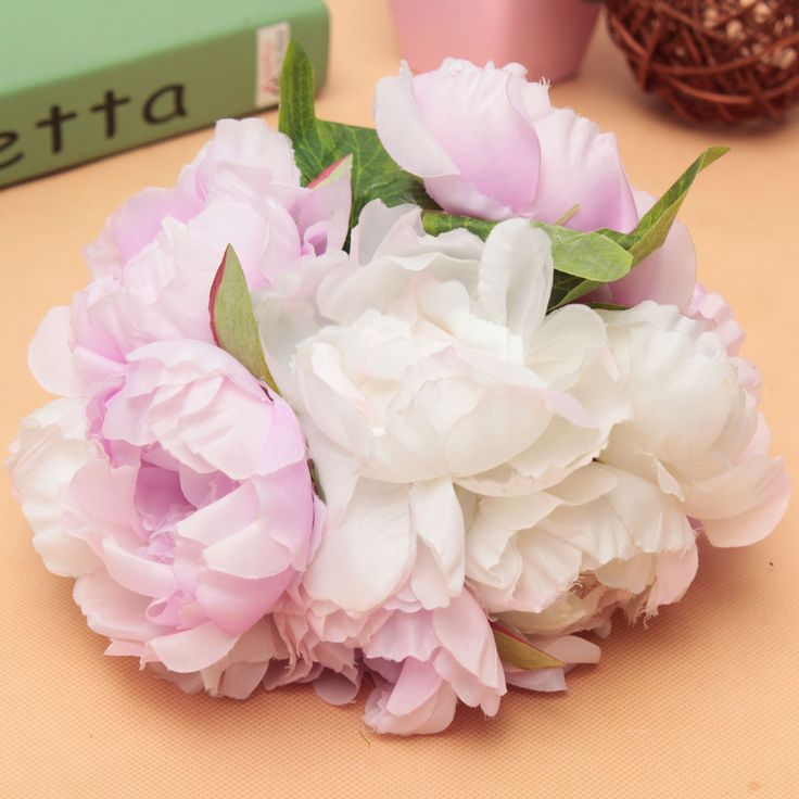 10 Heads Artificial Silk Flower Peony Wedding Bouquet Party Home Decoration