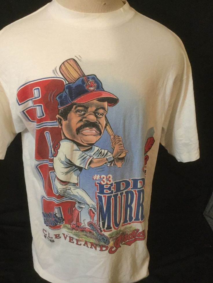 Vintage 1995 Eddie Murray OverPrint Cartoon Head Salem T-Shirt Cleveland Indians by 413productions on Etsy