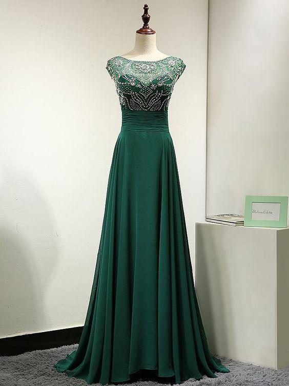 2017 new long Sexy dark green chiffon Prom Dress,A-line Prom Dress ,
