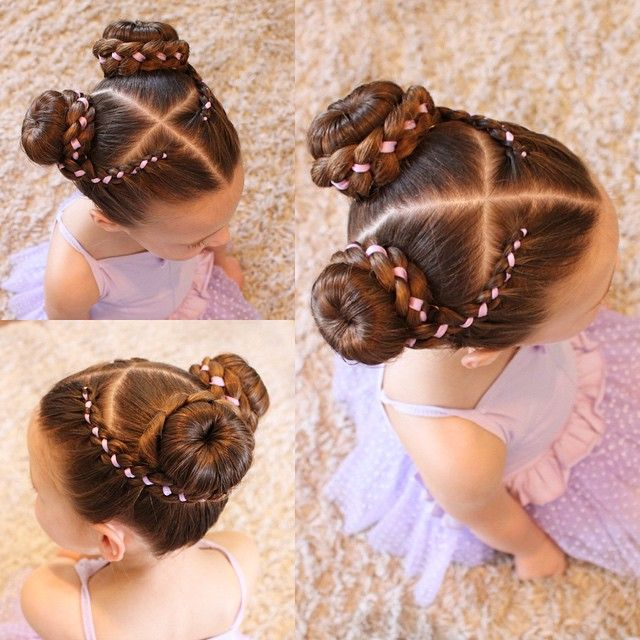 """C wearing 4 strand ribbon braids into 2 mini buns for dance today.  She is also wearing purple for @hairstylesbykylee cousin @kelseytaylorluria who is fighting leukaemia. #bpositivekelseytwin"" Photo taken by @sheerbraidedbliss on Instagram, pinned via the InstaPin iOS App! http://www.instapinapp.com (04/08/2015)"