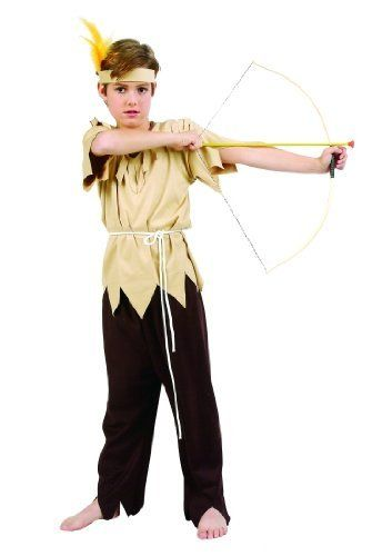Child's Indian Boy's Costume (Size:Large 12-14) by RG Costumes. $12.36. Makes a great halloween costume. Costume includes top and pants. Costume also includes headpiece with feathers and waist tie cord. Costume fits sizes 12-14. Includes Top, Pants, Headpiece with Feathers and Waist Tie Cord. Shoes and Bow and Arrow Not included.